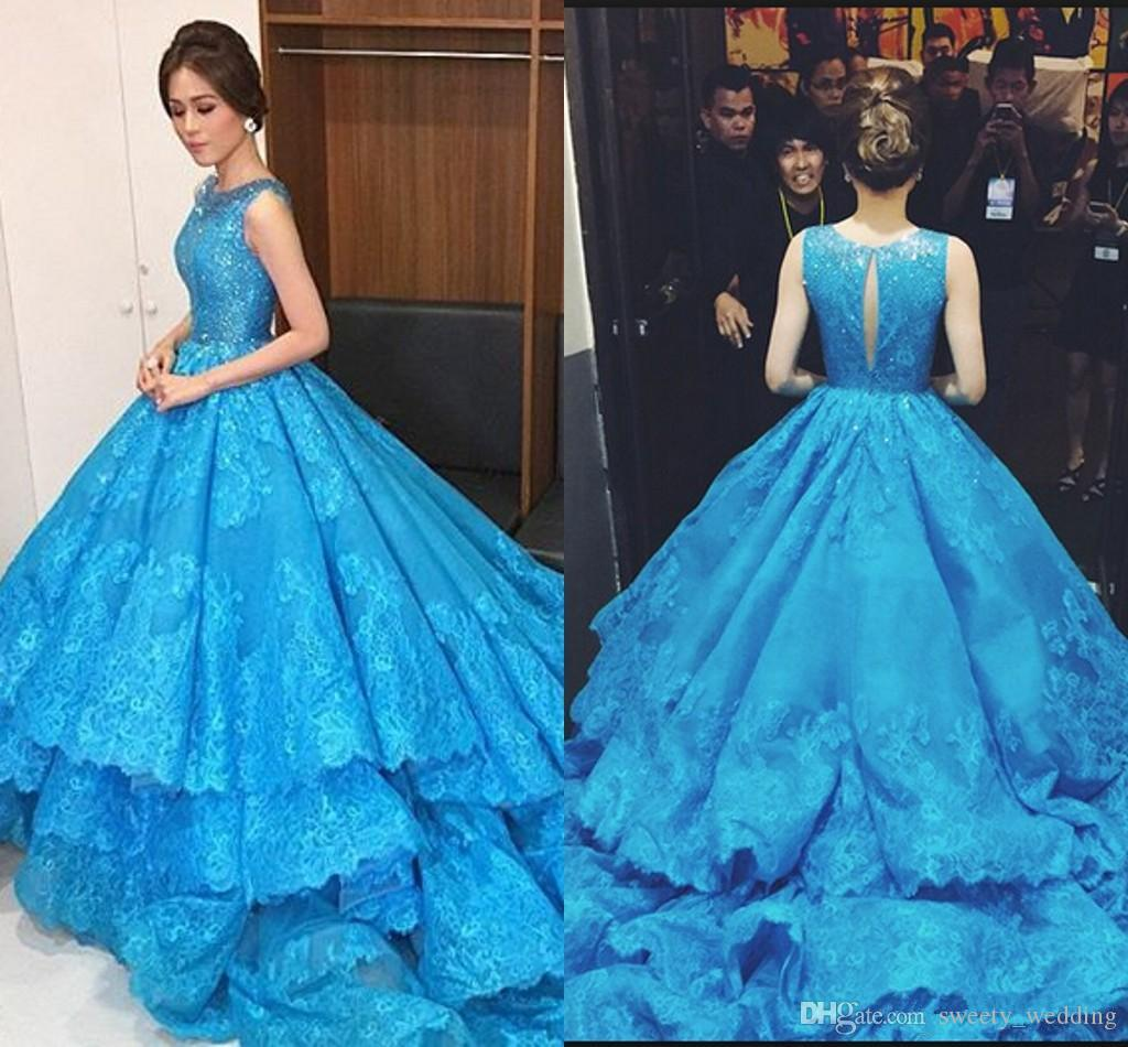 Blue Prom Dresses Scoop Sequins Lace Appliques Tiered Evening Gowns Sleeveless Back Hollow Chapel Train Formal Elie Saab Dresses