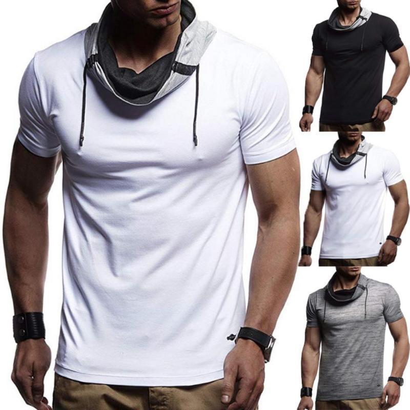 Hombres deportivas corto manga del color del bloque de la tortuga Camiseta de cuello con cordón delgado de la blusa del lazo del color sólido delgado y en forma grandes regalos