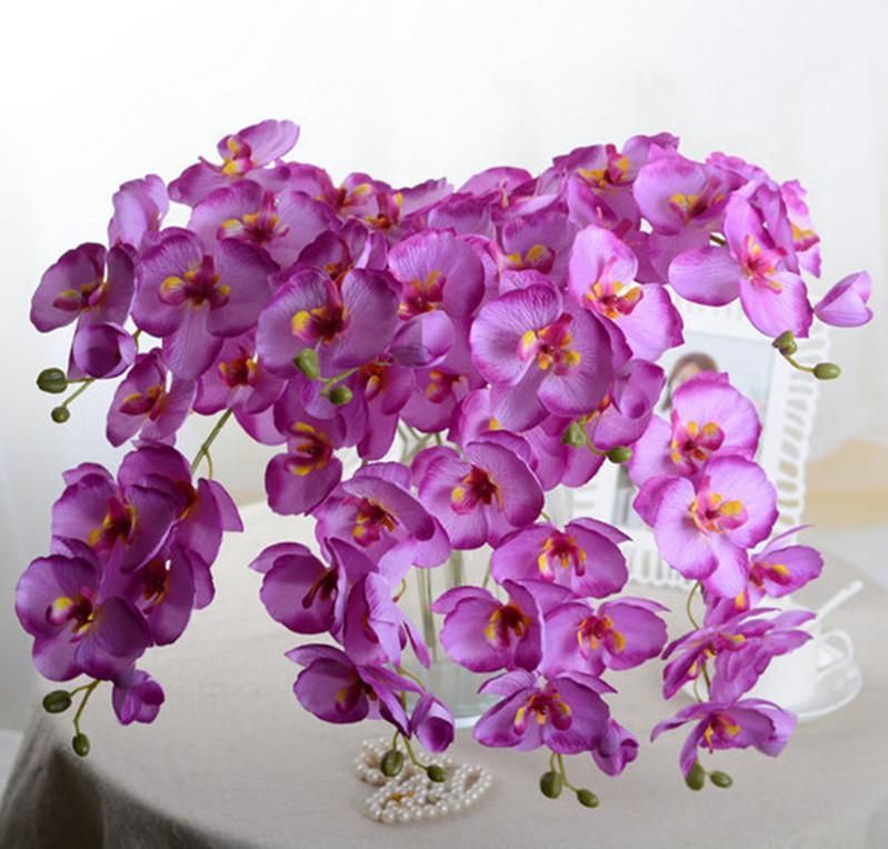 فراشة الأوركيد فرع الحرير الاصطناعي الزهور ل الزفاف المنزل حزب ديكور نبات اصطناعي الزهور وهمية الزهور الحرير phalaenopsis النبات وهمية