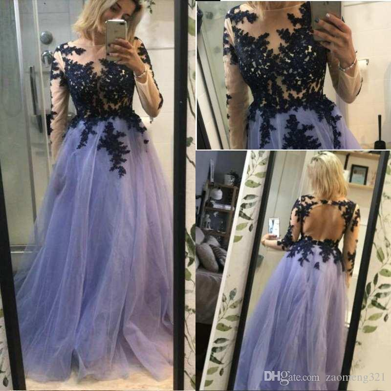 Customized Floor-length Backless Prom Dresses Long Sleeve 2020 Elegant Tulle A Line Formal Women Party Gowns Lace Appliqued Evening Dress