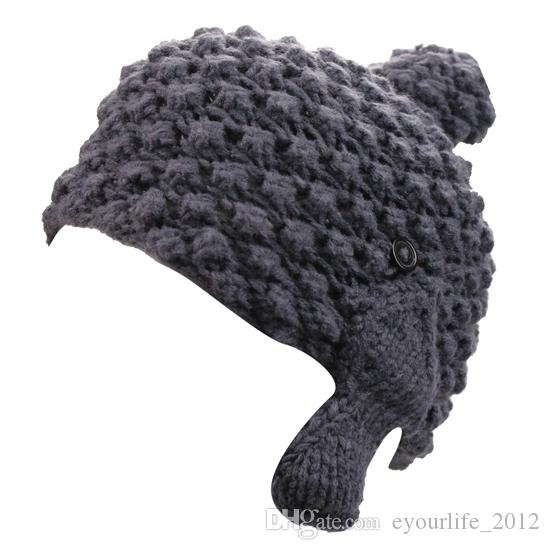 Womens Winter Handmade Crochet Knit Outdoor Sports Running Ski POM POM Skull Beanie Hat Cap with Earflaps Earmuffs