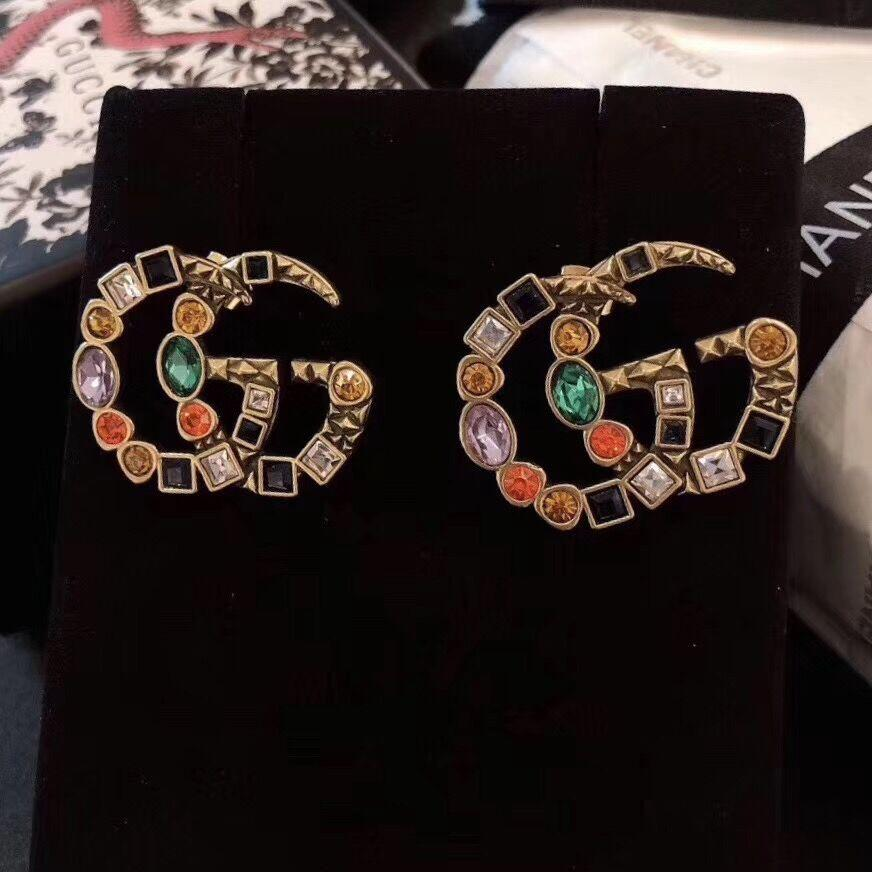 Moda-2020 de luxo designer de jóias mulheres brincos coloridos brincos strass ouro ocasião brincos de designer par de designer imagem real