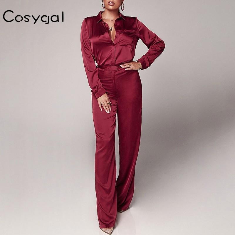 Оптовая продажа 2019 красный повседневный двухсекционный комплект с полным рукавом весна 2 шт. набор женщин офис дамы атласные 2 шт. наряды для женщин