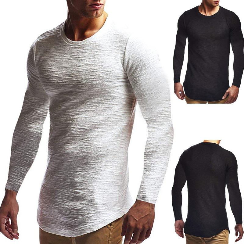 Simple Men Clothes 2019 One Piece Tee T Shirt men Long Sleeve Casual Top Solid Tees Plain White supernatural Mens T Shirts S