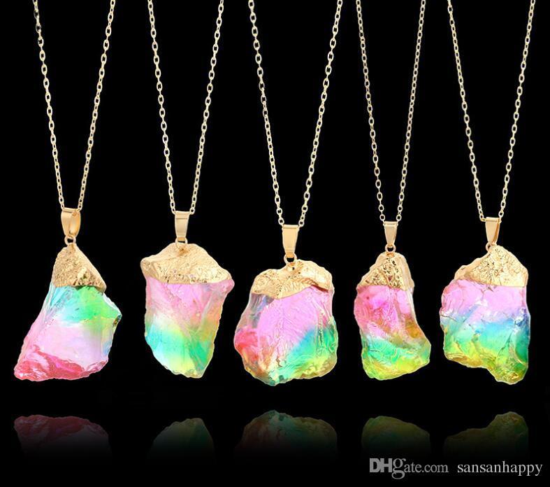 Драгоценные камни оригинальный Природный Кристалл Кварц Точка Заживления Чакра Камень Ожерелье Ювелирные Цепочки