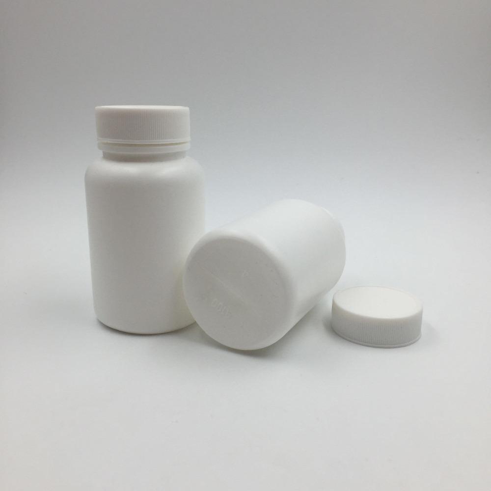 50шт 100 мл 100CC HDPE белый пустой аптека многоразового витаминные капсулы бутылки с завинчивающимися крышками