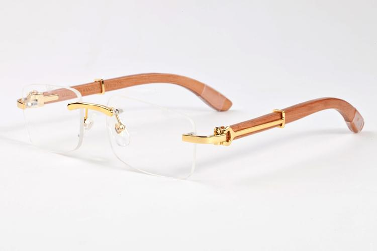 -Marca de luxo designer óculos sem aro para homens 2017 óculos de moda de madeira de bambu retro búfalo marrom preto claras óculos de sol de lentes de vidro