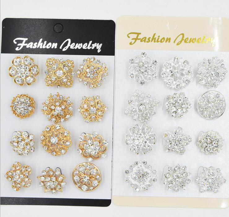 Mixed 12 style 12pcs/lot Golden silvery Crystal Flower Brooches Fashion Wedding Cake Flower Pins Girls Pretty Collar Pins Crystal Brooch
