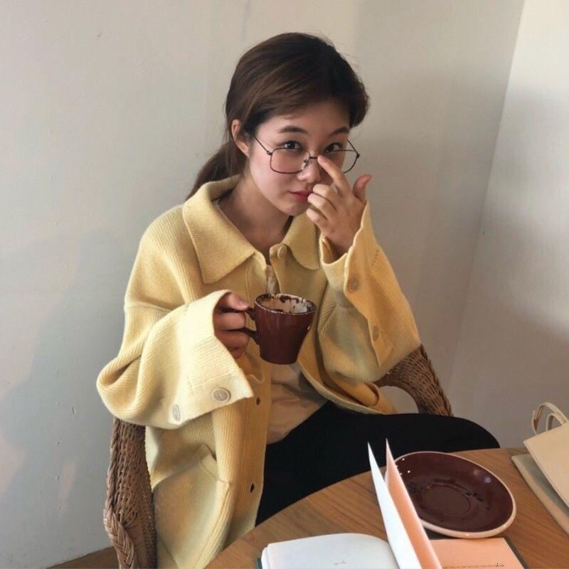Frauen Herbst-Winter-Tops Vintage Shirt Pullover weibliche Jahrgang Shcool Plus Size Taschen Knitting Cardigan Mantel Suéter Mujer Y190923