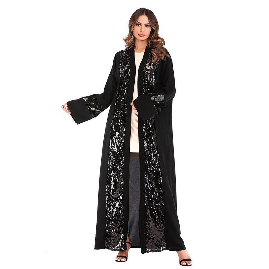 INS Naher Osten Außenhandel Groß Größe Muslim Sequined Stitching Cardigan Robe Weiblich Europäische und amerikanische Art und Weise Nida langer Rock 1678sa
