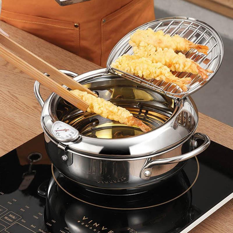 Cucina friggere Pot Thermometre Tempura Fryer Pan Controllo di temperatura Fried Chicken Pot strumenti di cucina in acciaio inossidabile