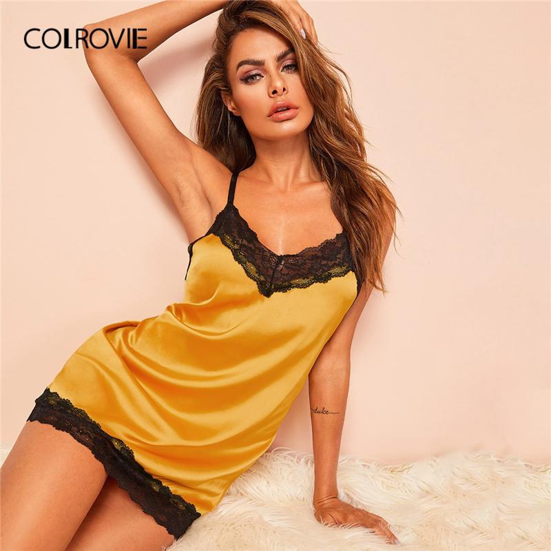 COLROVIE Sarı Dantel Trim Saten Criss Çapraz Saten Seksi Gece Elbise ile Thong Kadınlar 2019 Yaz Kolsuz Backless Nightgowns V191213
