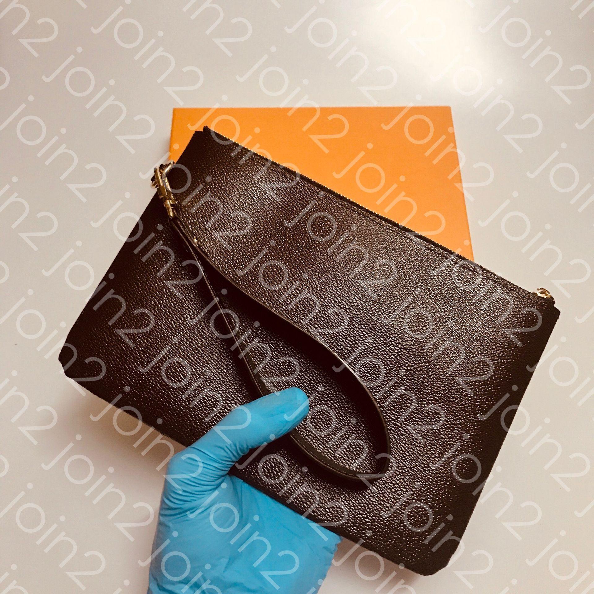 City Bolsa de Alta Qualidade Moda Fashion Womens Diário Bolsa de Telefone Celular Bag Pochette Acessórios Embreagem Marrom À Prova D 'Água Quadriculado Canvas M63447