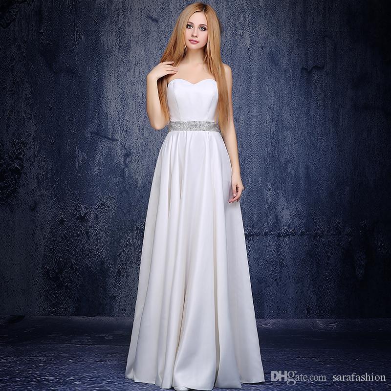 Querida decote cetim a linha vestidos de noite 2019 frisado vestido de noite marfim vestido de baile longo robe soirée