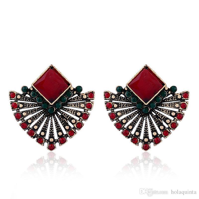 Résine ethnique rouge boucles d'oreilles steampunk géométrique secteur en forme d'oreille goujons couleur d'or parti cristal bijoux femmes