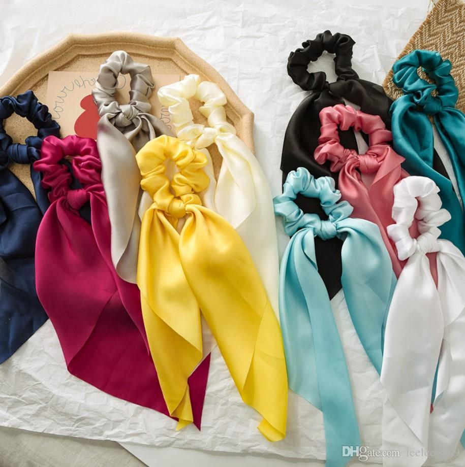 INS 10 colores de verano brillante pelo Scrunchies accesorios arco Mujeres Bandas lazos del pelo de Scrunchie Ponytail de la cuerda de goma del arco de la decoración de raso