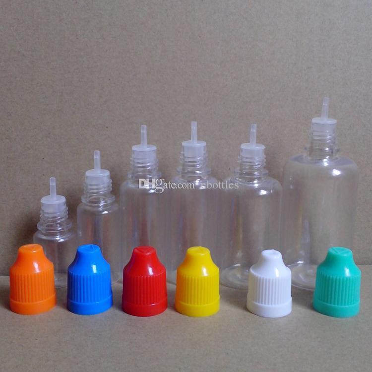 Botellas de agujas PET con tapa a prueba de niños y punta larga y delgada para gotero 5 ml 10 ml 15 ml 20 ml 30 ml 50 ml E Botellas gotero líquido Sin Fedex