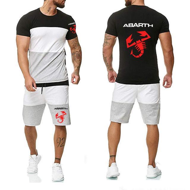 Yüksek Kaliteli Pamuk Yaz Mürettebat boyun Moda Casual Erkek Tişört Pantolon baskı Abarth Car Yeni 2020 2pcs H Suit