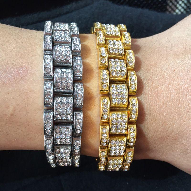 Factory direct fashion unisex bracelet quality high-grade plating high diamond HipHop rap drill inlay tank bracelet couple bracelet