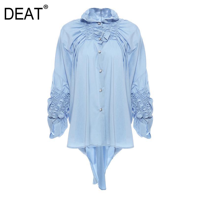 DEAT 2020 nuovi vestiti delle donne della molla girano-giù il collare coulisse maniche monopetto camicia pieghettata femminile camicetta blu WK46105L