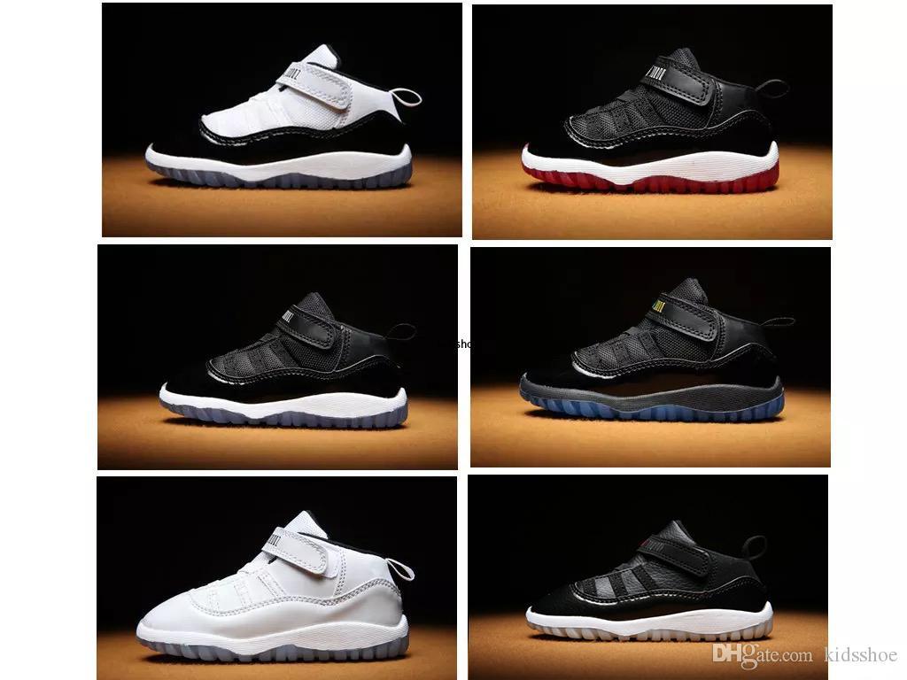 Cómodos zapatos de baloncesto de los zapatos de bebé 11s infante muchacho al aire libre y deportes niña entrenador Bady niños recién nacidos del zapatilla de deporte Negro Rojo