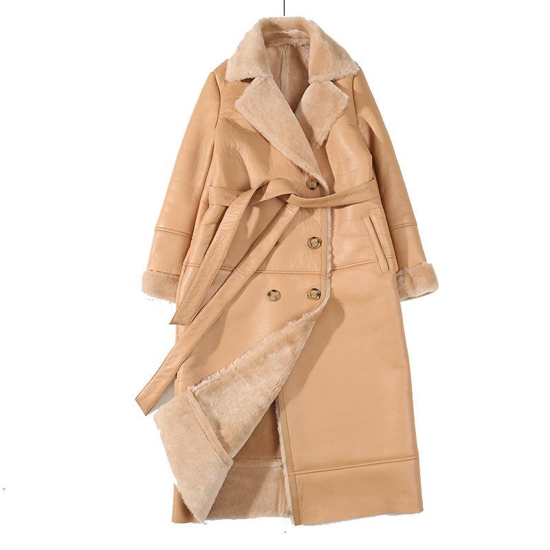 2020 Winter-echtes Leder-Jacke Schaffell Khaki Langer Mantel Shearling Jacke Gürtel Warm Lamm Schaf-Pelz-Outwear Overcoat