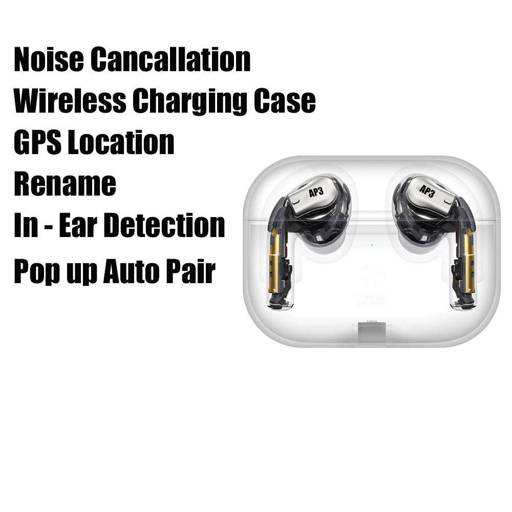 Noise Cancellation Air Gen 3 pro GPS Rename Mini TWS Bluetooth Earphones H1 Chip Wireless Charging Case Galaxy Buds