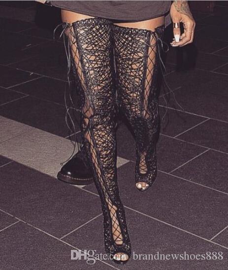 Neueste Art- und Weisefrauenschuhe heißer Verkaufs-Spitzenausschnitt reizvolles schwarzes über dem Knie Lace-up Gladiator-Sandelholz große Größe 10 peep Toe