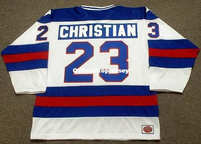Cheap personalizzare # 23 DAVE CHRISTIAN 1980 USA K1 Olympic Top Hockey Jersey Mens cucita maglie personalizzate