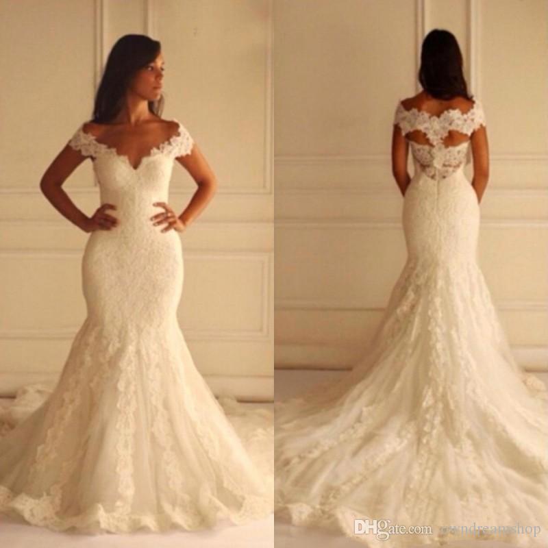Geogrous Vintage Lace Русалка Свадебное платье V шеи с плеча Аппликации Свадебные платья Полые Вернуться на заказ Брид Gowns