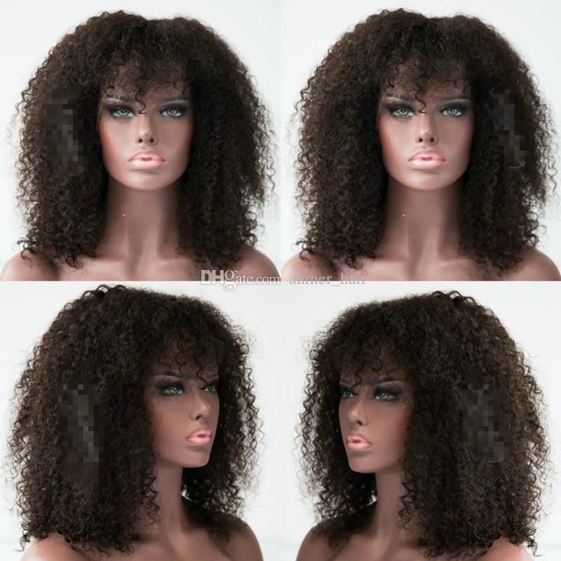 Kinky Curly Human Hair Wig with Bangs for Black Women Short Brazilian Glueless Full Lace Wig Natural Color