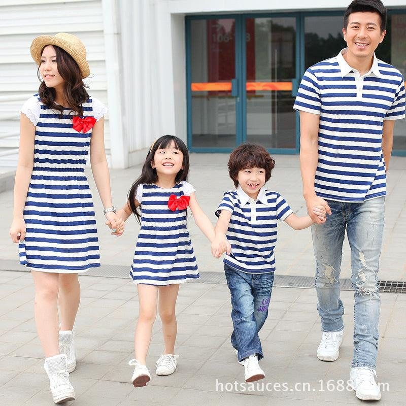 Family Matching Outfits Mother and Daughter Clothes Dress Kids Girl Stripe Shirt