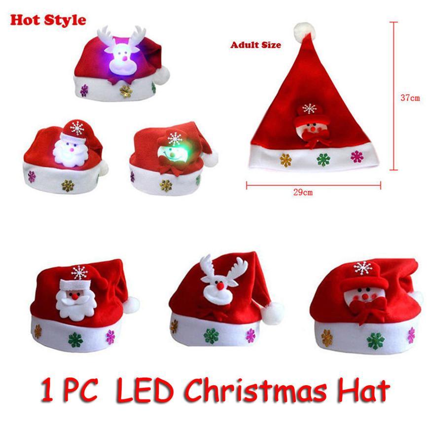 Chapéus Chrismas Adulto LED Presentes de Natal Chapéu de Papai Noel da rena do boneco de neve Xmas Cap Para Casa Enfeites De Natal