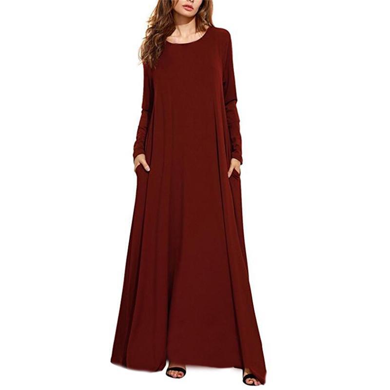 Elegantes party dress zanzea frauen sexy o neck langarm kleider beiläufige lose taschen solide lange maxi bodycon dress plus größe