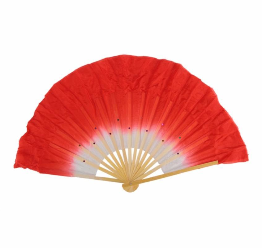 Free Shipping Belly Dance Fans For Ladies 100% Silk Veil Red Green Yellow Fans Female High Quality Belly Performance 10414