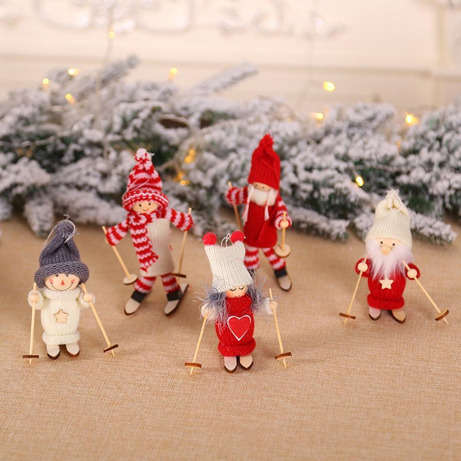 مصغرة عيد الميلاد دمية القطيفة شجرة عيد الميلاد قلادة تمثال بابا نويل زينة التزلج الخشبية لعبة دمية الديكور فندق LJJA3345-2