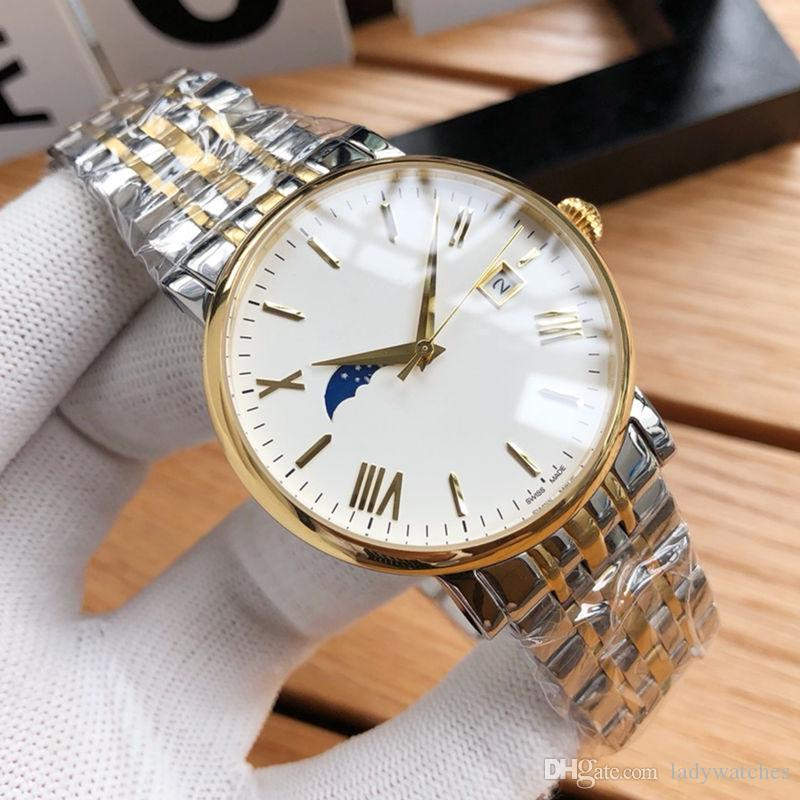 Роскошные мужские часы Imported 8217 Автоматическое механическое движение Фаза «Настоящая луна» Автоматическая дата Стекло с покрытием Зеркало 316 Стальная полоса X615