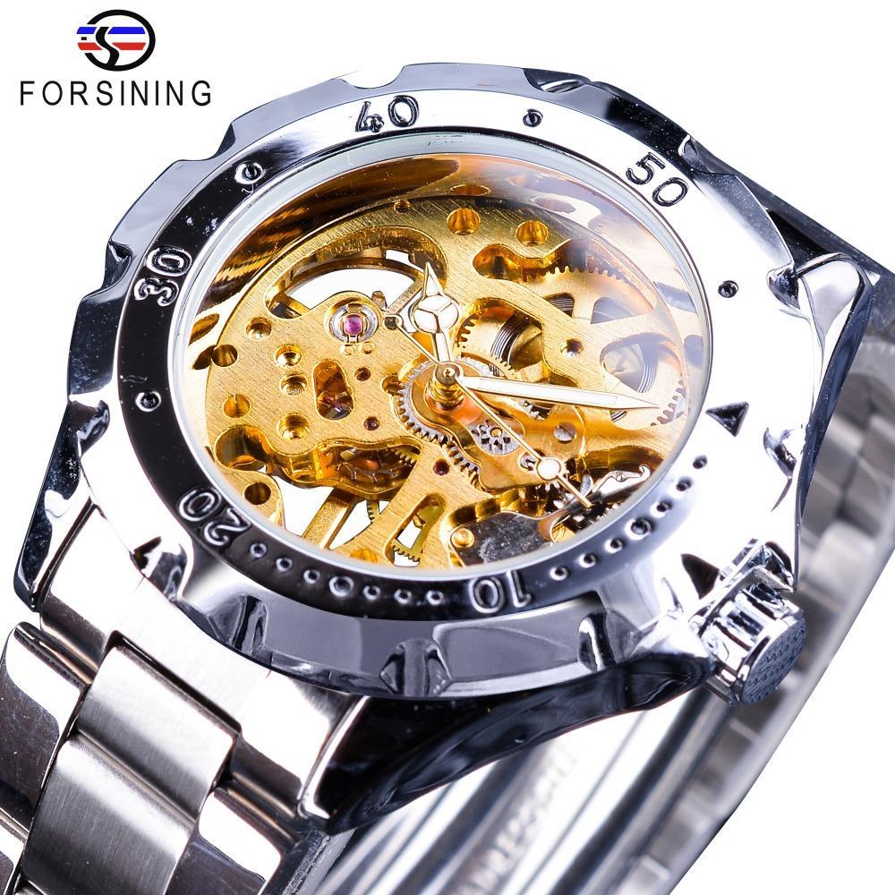 Forsining 2018 Caja de engranajes de plata de acero inoxidable esquelético de oro del reloj de los hombres de los relojes mecánicos de primeras marcas de lujo manos luminosas