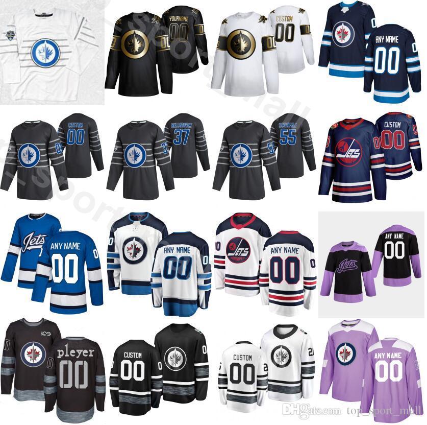 Hóquei no Gelo 2020 All Star Winnipeg Jets Jersey 55 Mark Scheifele 37 Connor Hellebuyck 81 Kyle Connor 29 Patrik Laine Azul Marinho Branco