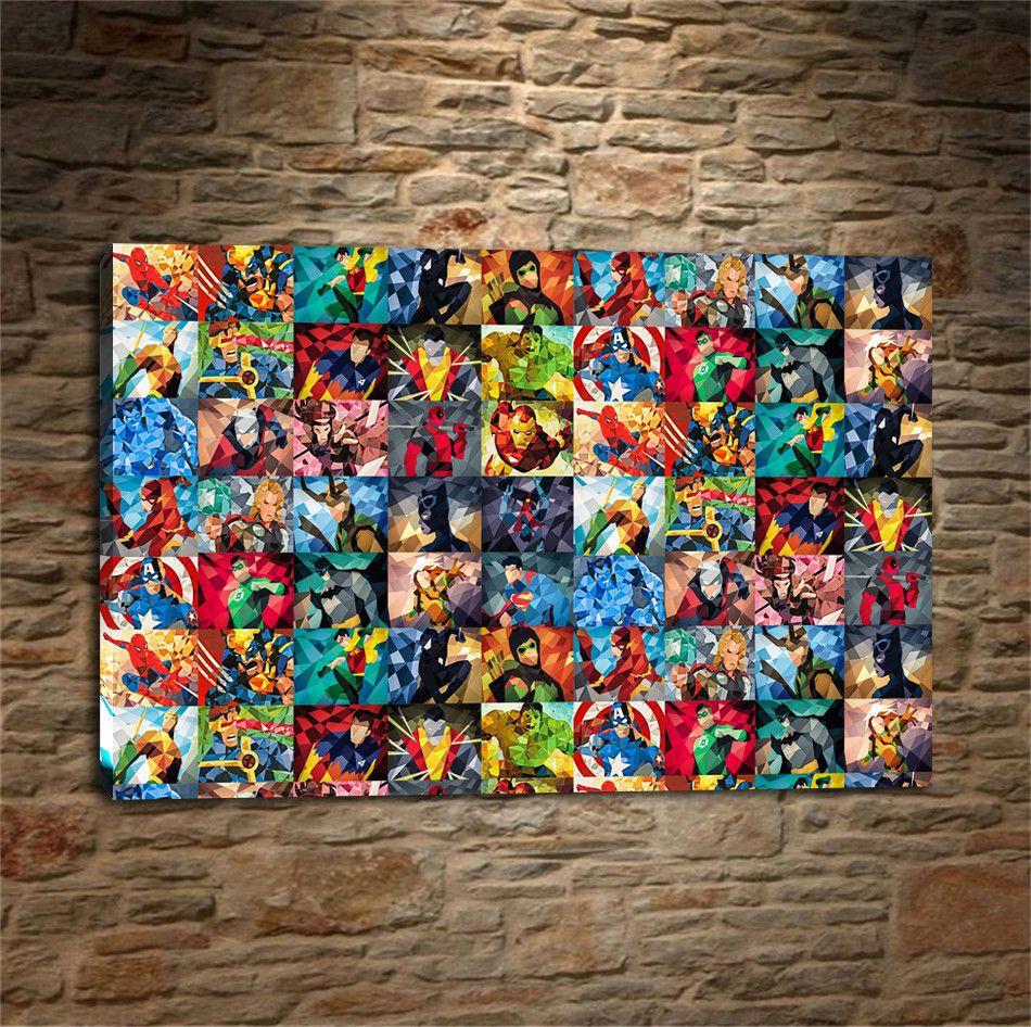 Desenhos animados de super-heróis, Impressão de tela HD Home Decor Art Painting / (Sem moldura / Emoldurado)