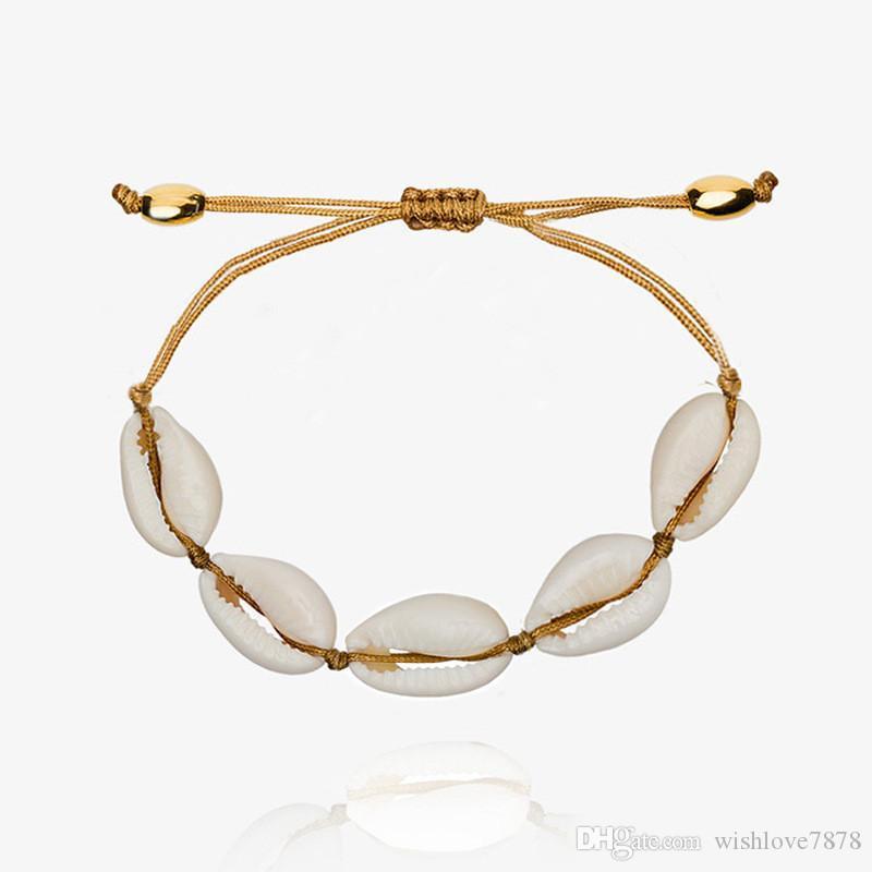 Shell Bracelets Female Adjustable boho Hand Chain Macrame friendship Natural Seashell Bracelet Mothers Day Beach Jewelry Bangles Gifts