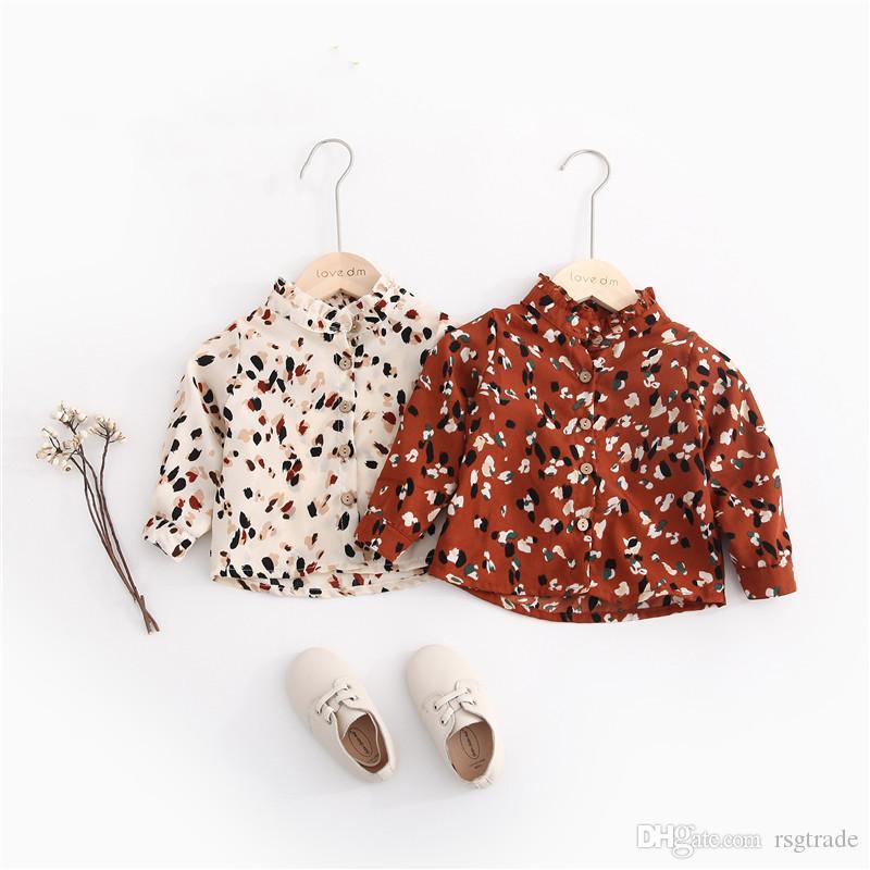 Herbst Neue INS Kleine Mädchen Blusen Shirts Chiffon Baumwollgewebe Blumendruck Rüschen Stehkragen Beiläufige Reizende Kinder Mädchen Shirts Tops