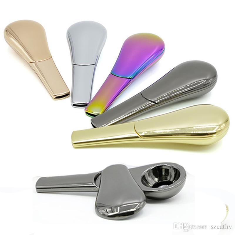 SCOOP Forma fumo tubi tubo di metallo cucchiaio del tabacco di zinco materiale in lega di 95 millimetri 5 colori in Gift Box Dry Herb Vaporizer
