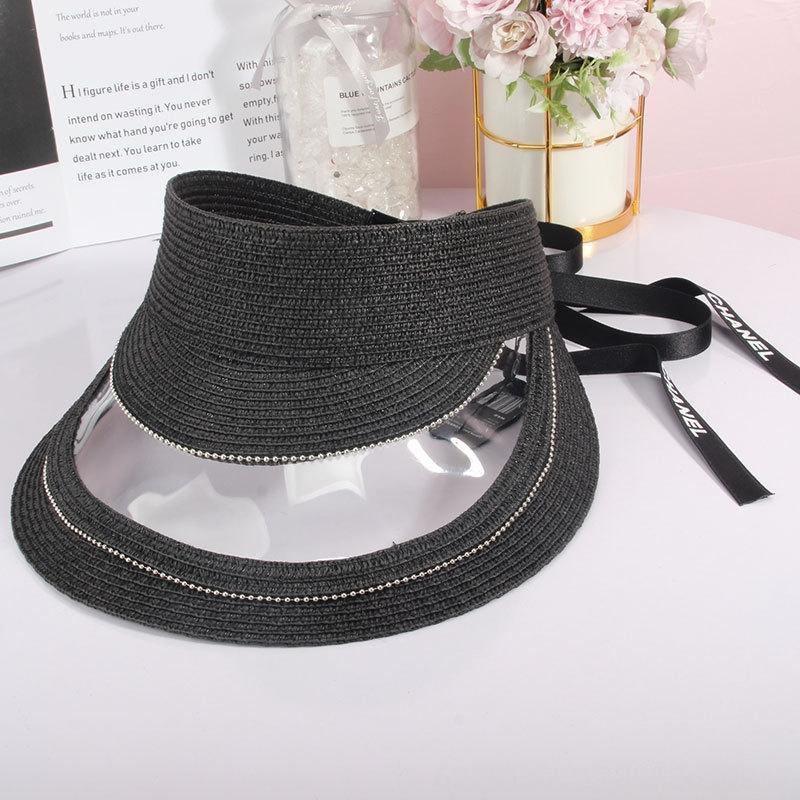 20-year sun butterfly sun transparent stitched empty-top Diamond sunshade hat all-match ribbon bowknot sunscreen beach hat