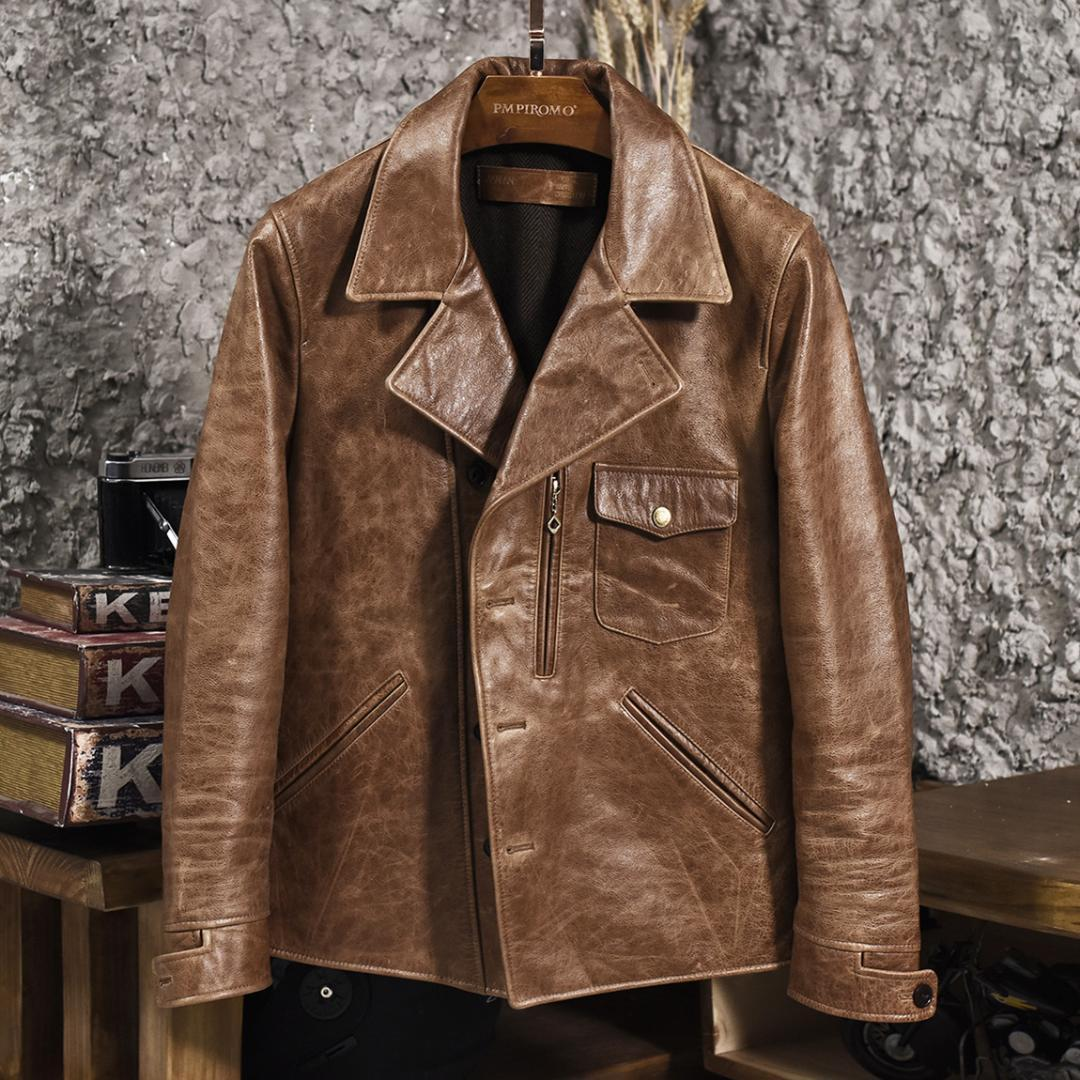 2019 men's vintage oil wax cow leather jacket lapel short motorcycle jacket single breasted brown biker leather coat for male