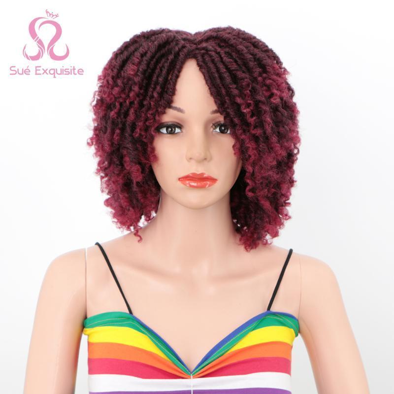 Sue EXQUISITO pelucas sintéticas gradiente rojo corto rizado rizado mujeres pelucas sintéticas del completo Negro Brown por Disponible