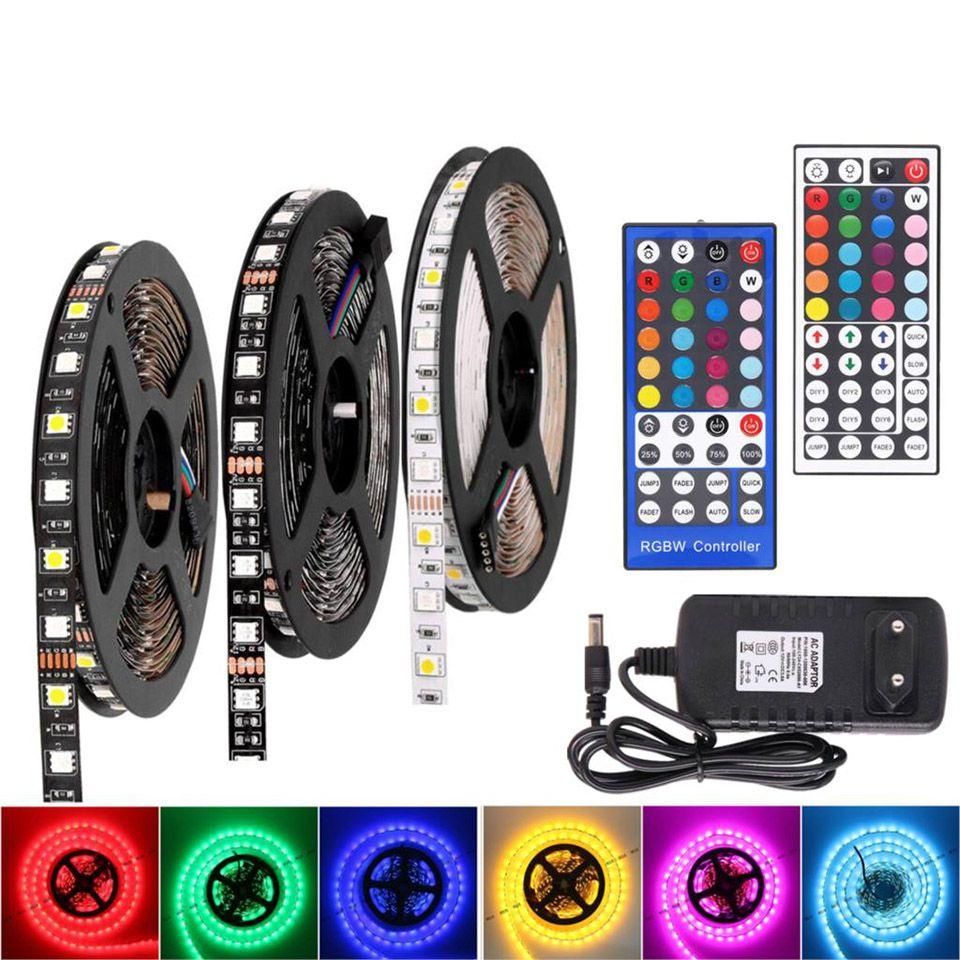 RGB LED Şerit Su geçirmez RGBW DC12V 5050 beyaz Siyah PCB WIFI RGBWW Esnek LED Işık Uzaktan Noel Neon Şerit Şeritler