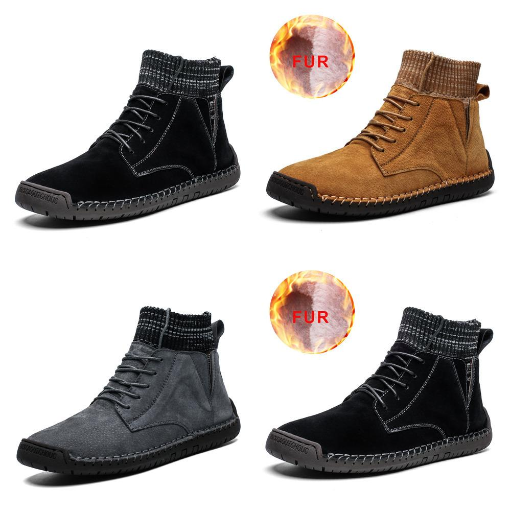 2019 Men Snow Boots Winter Warm Suede Leather Men Ankle Boots High Quality Fur Plush Male Comfortable Sneakers Big Size 48