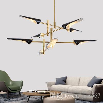 Chandelier Lighting Nordic Designer's Choice Chandelier Post Modern Creative Chandelier White/ Black Lampshade Avize Modern Lamp AC 90-