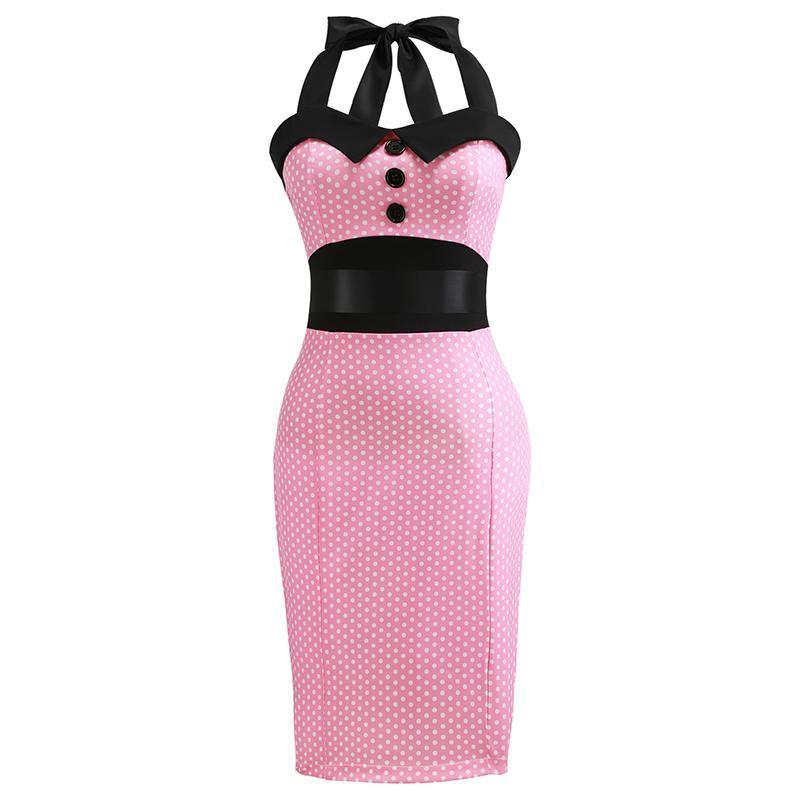Retro Pink Polka Dot Audrey Hepburn Robe Vintage Halter Dress Plus Size 3xl 2019 50s 60s Gothic Pin Up Rockabilly Bodycon Dress T3190614
